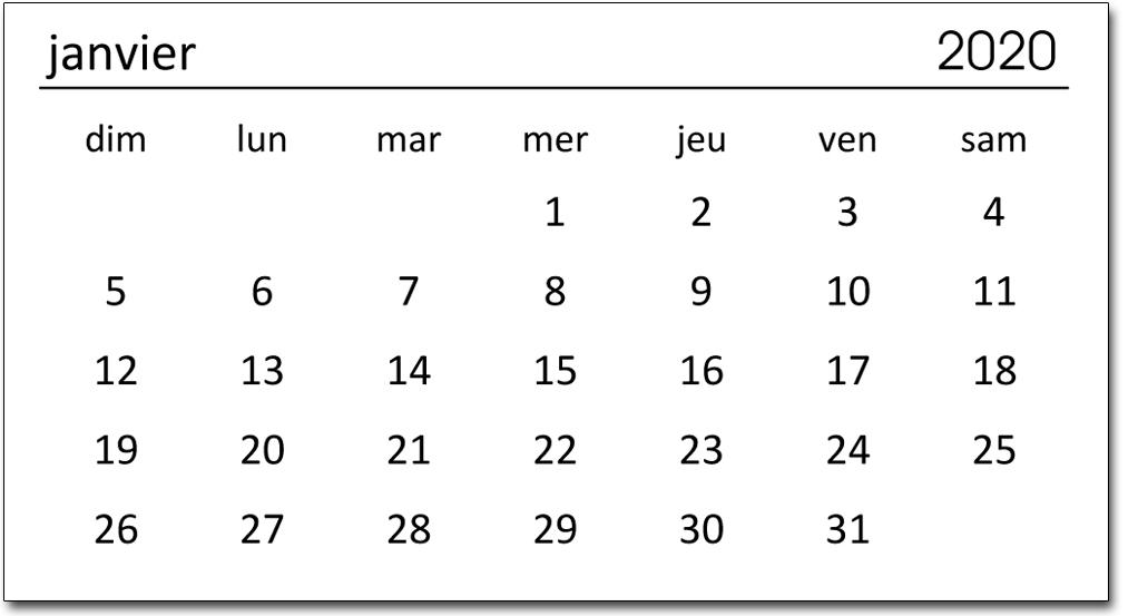 Padded Mini Calendars - French