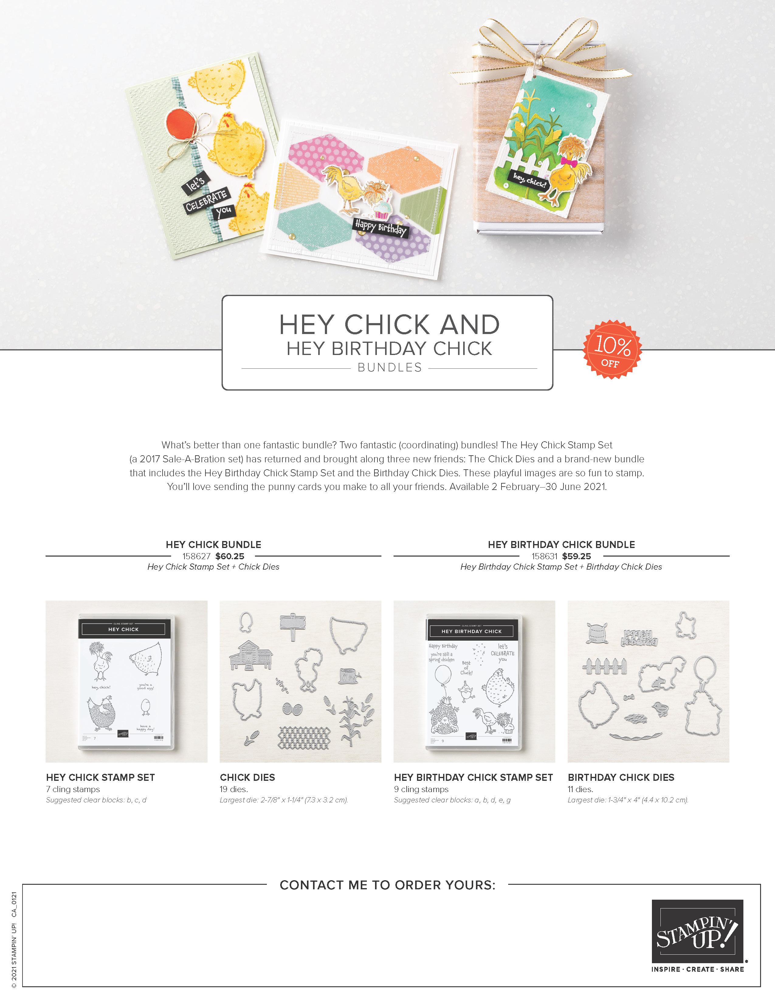 Hey Chick and Hey Birthday Chick Bundles Marketing Flyer CA